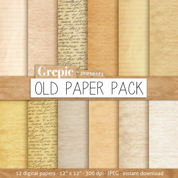 Old paper digital paper pack OLD PAPER PACK with vintage by Grepic - notebook paper download