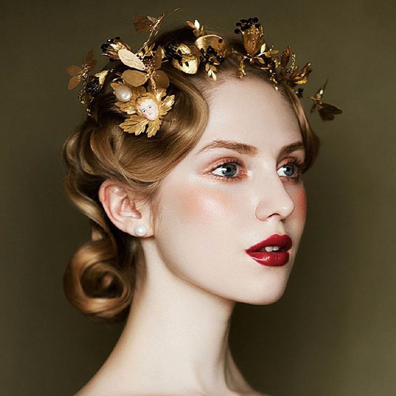 Black Wedding Hairstyles With Crown: Elegant Golden Leaf With Black Rhinestones Tiara Crown