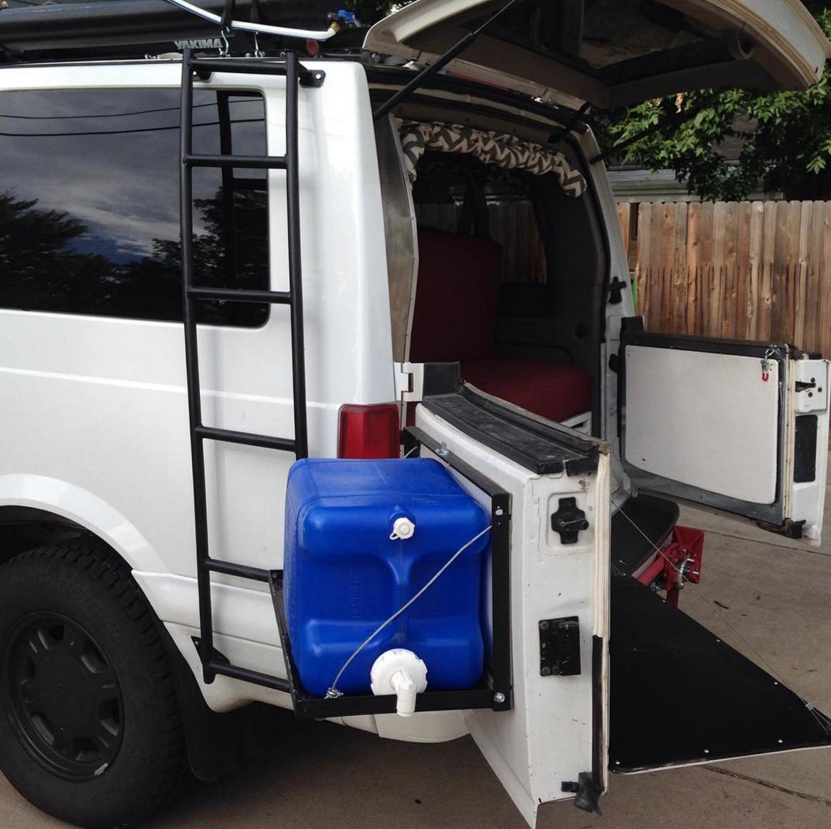 Astro Safari Camper Van Build Diy Rear Popout For Water Jug