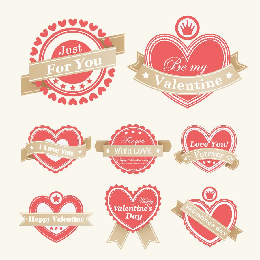 Heart Valentine Labels Vector