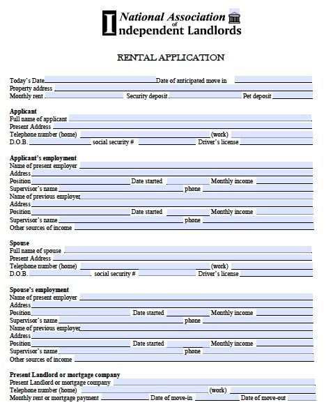 Printable Sample Free Rental Application Form Form Real Estate - employment application forms