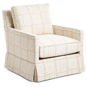 Auburn Skirted Club Chair, Bamboo Lattice