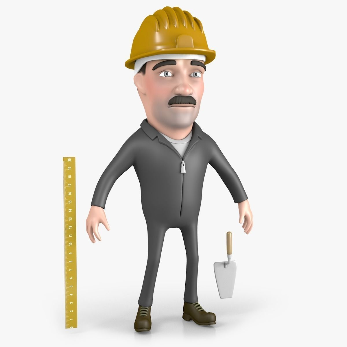 Builder cartoon character 3d model cartoon characters