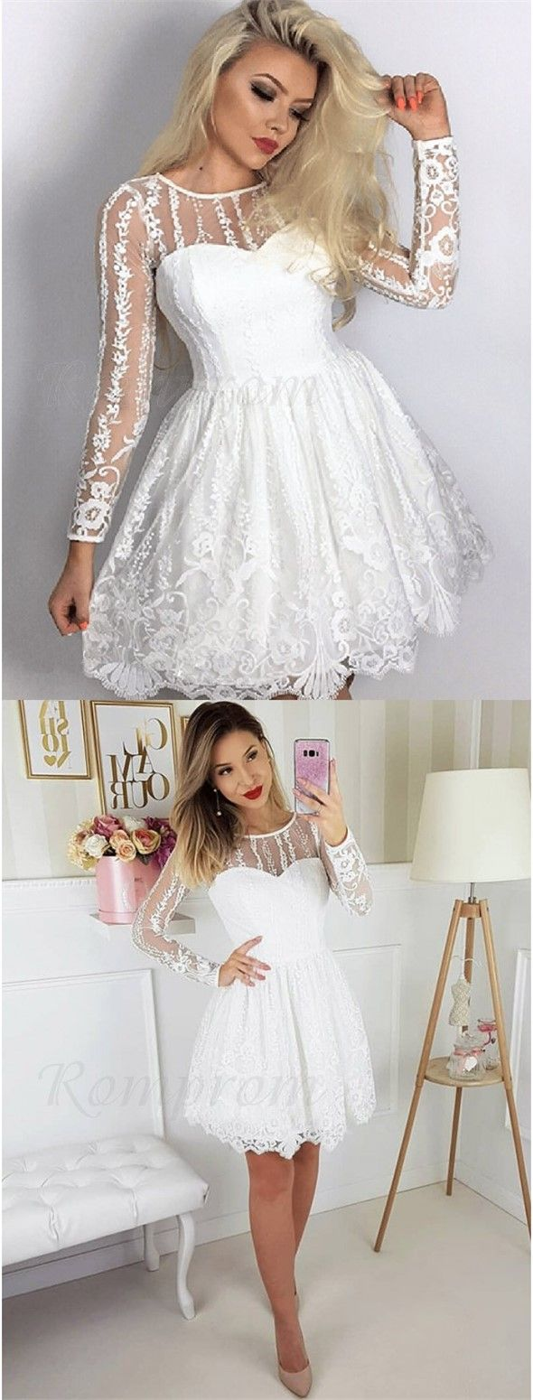 Aline crew long sleeves short white lace homecoming dress with
