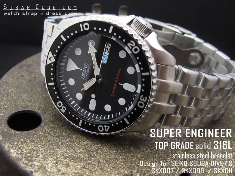 22mm Super Engineer Watch Band For Seiko Diver Skx007