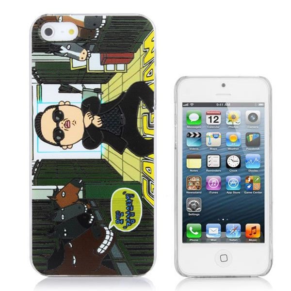Popular PSY Gangnam Style Pattern PC Hard Case Protective Cover for iPhone5 - Deep Green