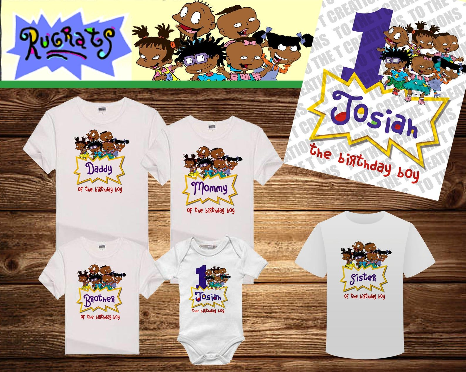 Afro american rugrats personalized birthday shirt mom