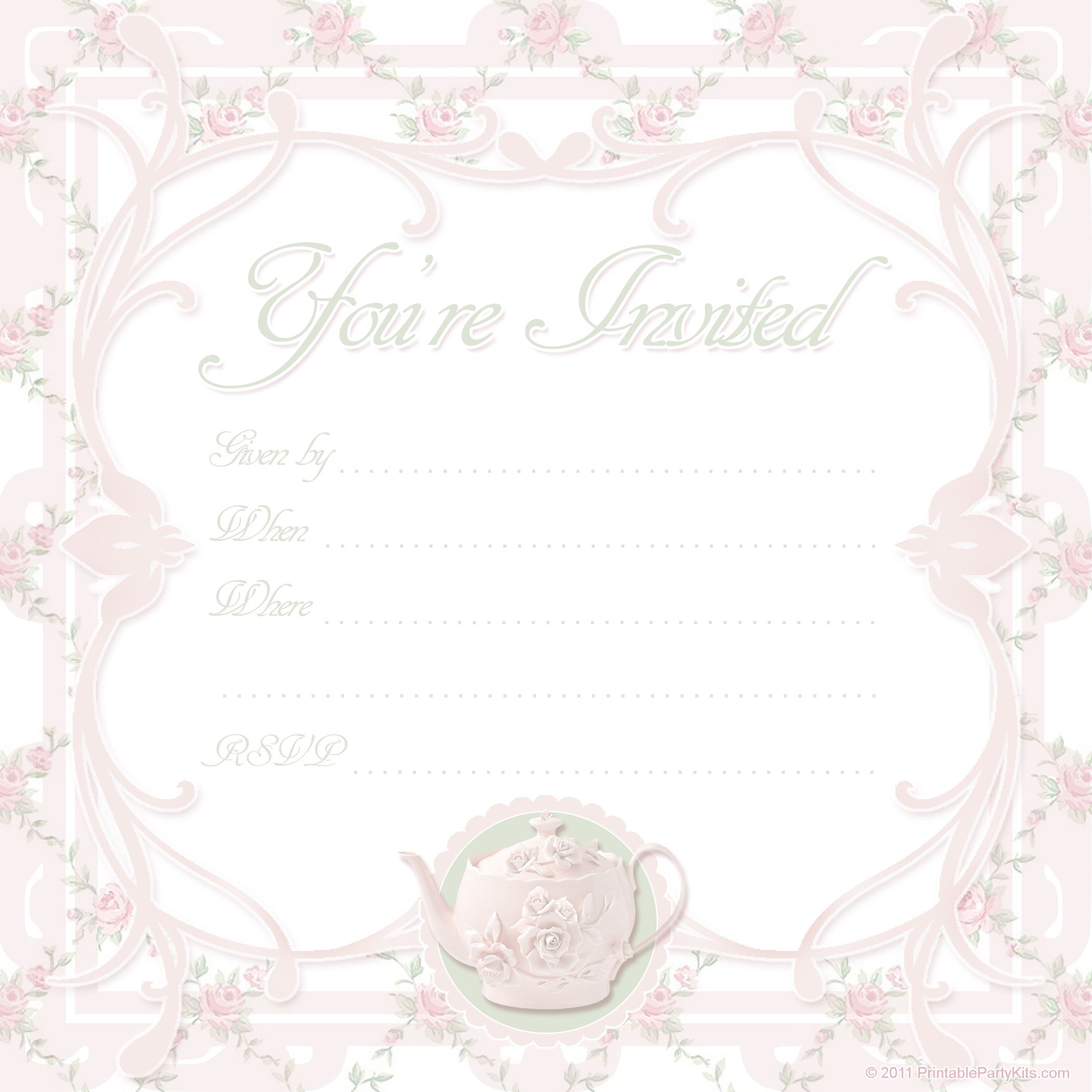 vintage tea party invitations | Free Printable Tea Party Invite Template | Printable Party Kits