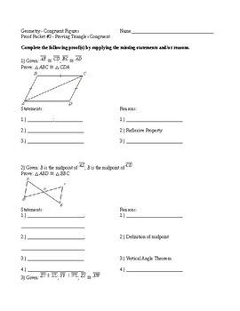 Geometry Proofs Packet 3 Proving Triangles Congruent Geometry