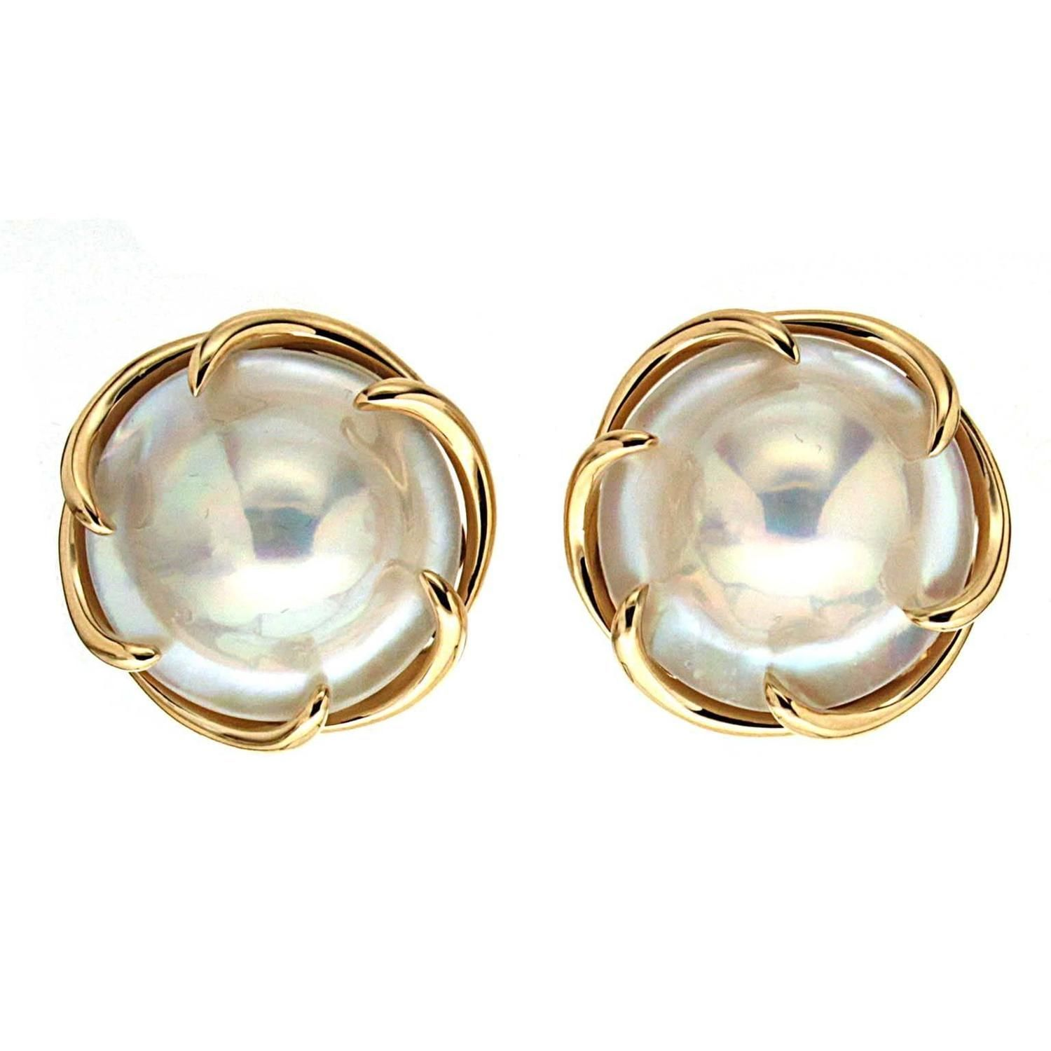 Blister Pearl Gold Claw Earrings From A Unique Collection Of Vintage Clip On At Https 1stdibs Jewelry