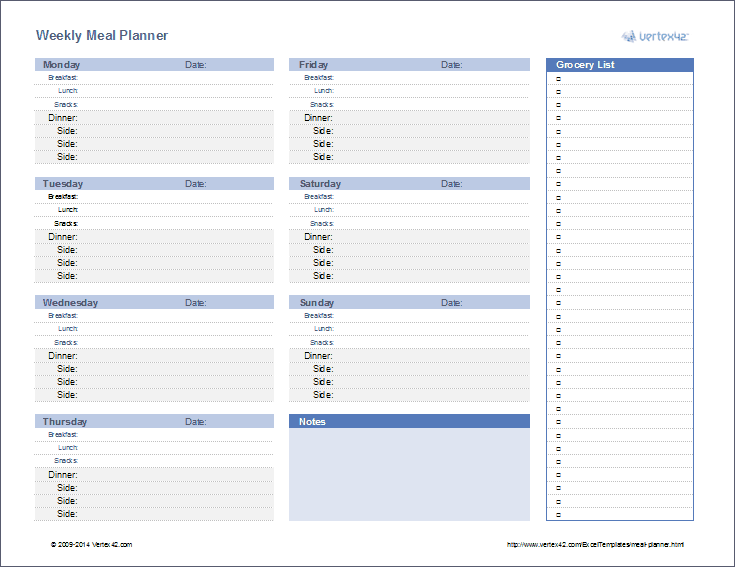Download A Printable Menu Planner Or Use A Weekly Or Monthly Meal