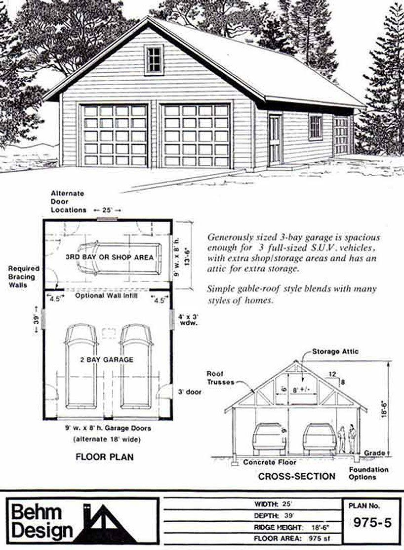 Garage Plans Two Car Garage With Shop and Attic Roof