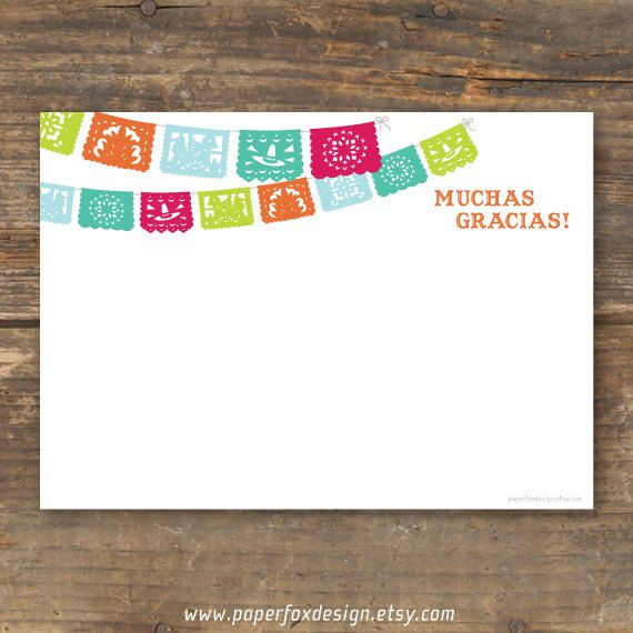 Fiesta Thank You Card Printable Papel Picado Invitaciones