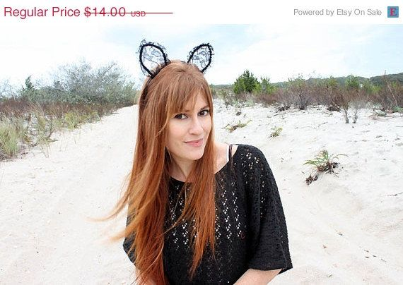 One Day SALE 50 OFF Pretty Kitty lace cat ear by ShopGMVintage, $7.00