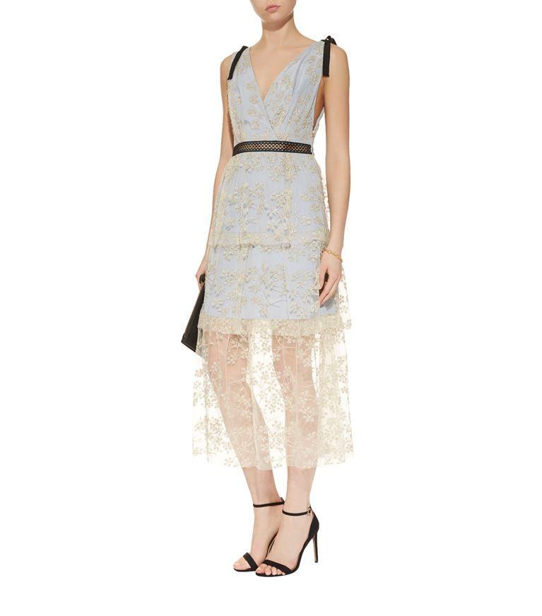 4628b9b23838 Women: Dresses Self-Portrait Tiered Floral Embroidered Midi Dress ...