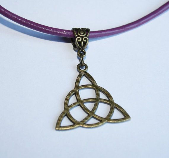 Bronze Triquetra Charmed Necklace Wicca Protection Symbol Black