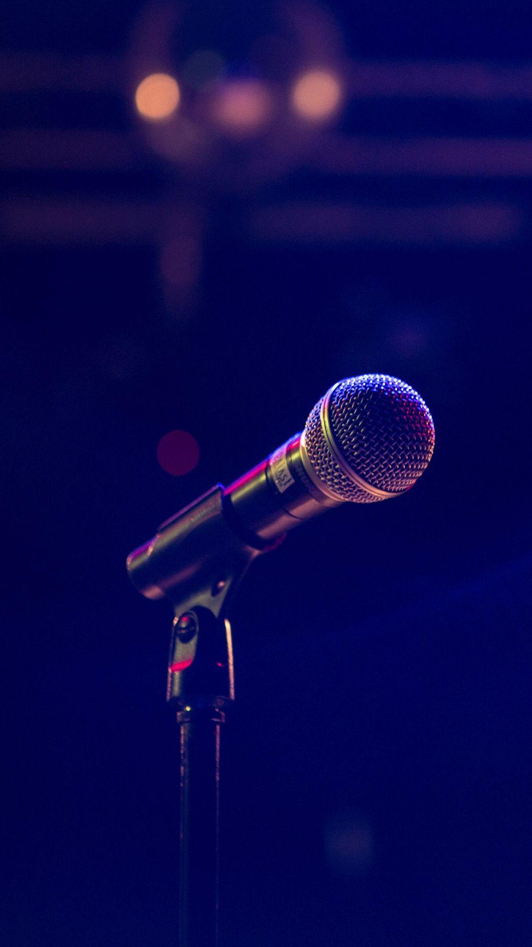 Microphone Wallpaper In Dark Blue Background Music Wallpaper Dark Blue Background Music Poster Ideas