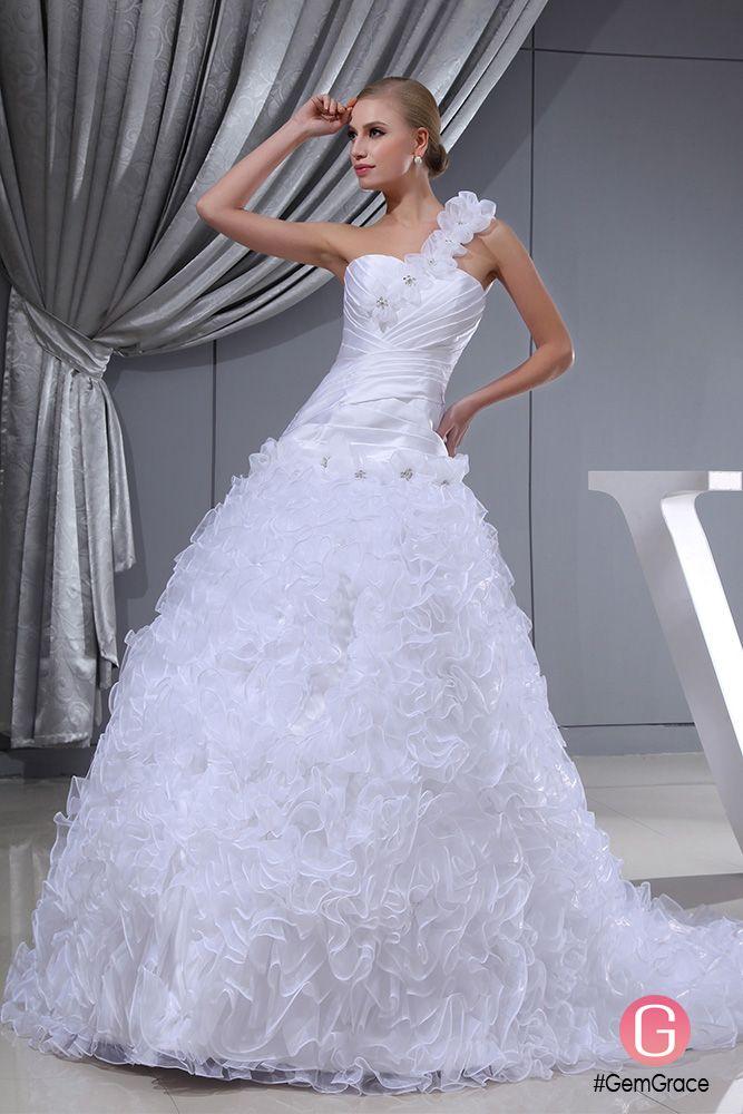 One Shoulder Floral White Custom Wedding Dress #OPH1338 $318.9 ...