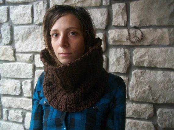 Brown Chunky Cowl / Soft Wool Crochet Scarf / by ReGrowRoots, $37.00