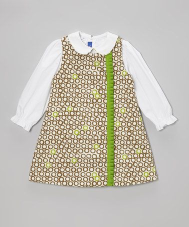 White Top & Brown Circle Jumper - Toddler & Girls #zulily #zulilyfinds