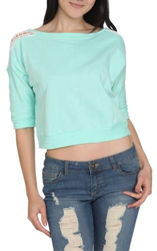 French Terry Lace Sweater $19.90 (Wet Seal)