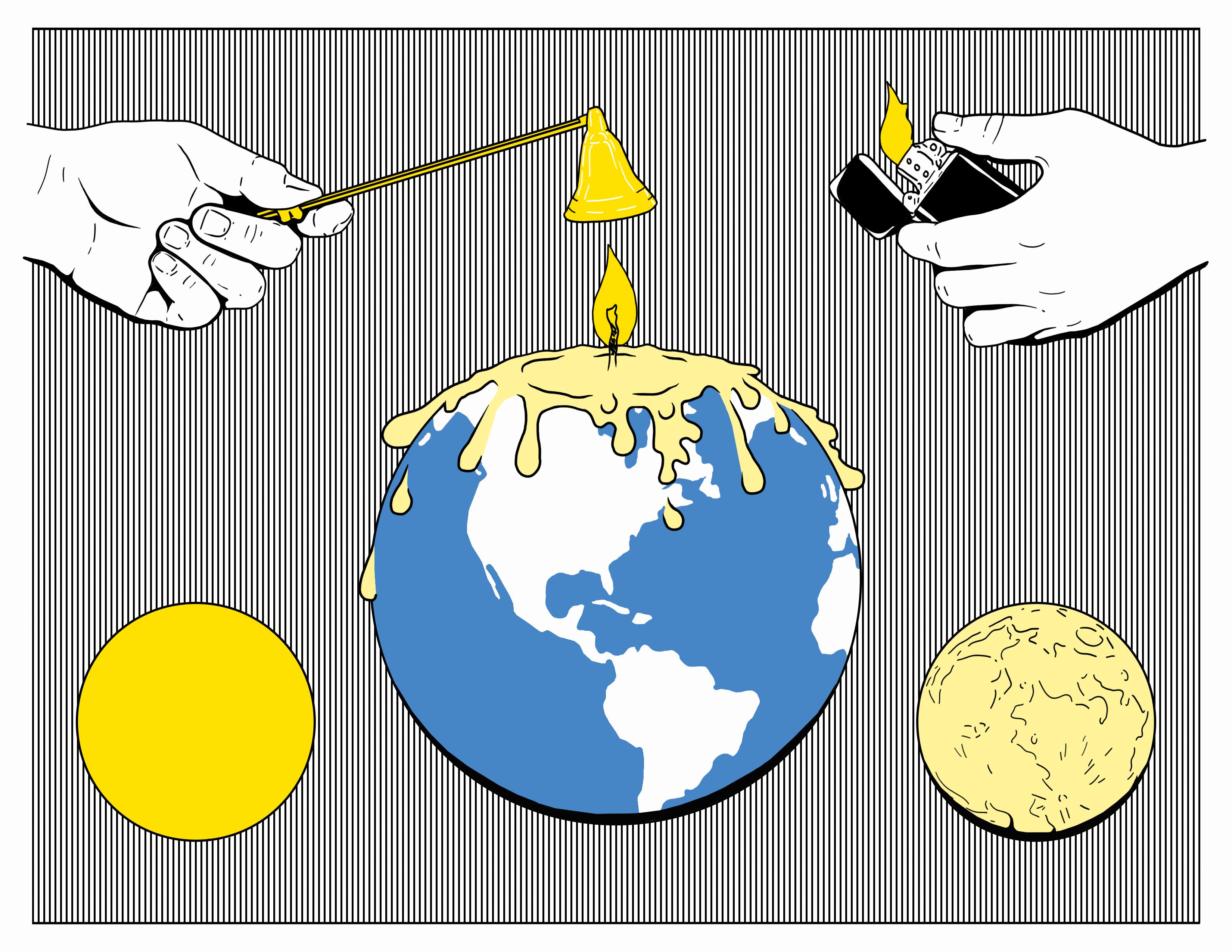 Climate Change Design Climate Change Design Climate Change Poster Candle Illustration