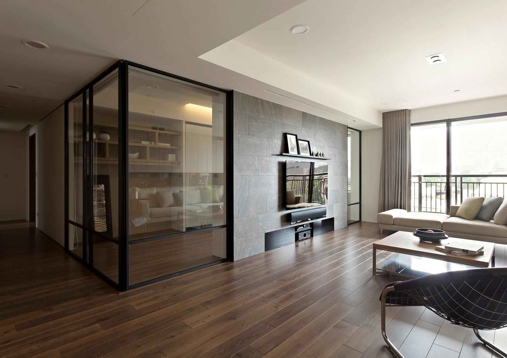 Living Room Design Dark Laminate Flooring Tile Glass Door Wall