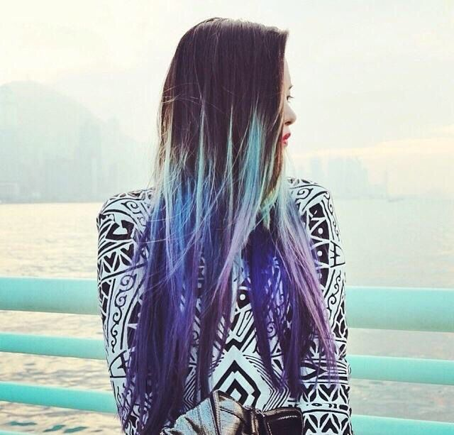 Blue to purple tips