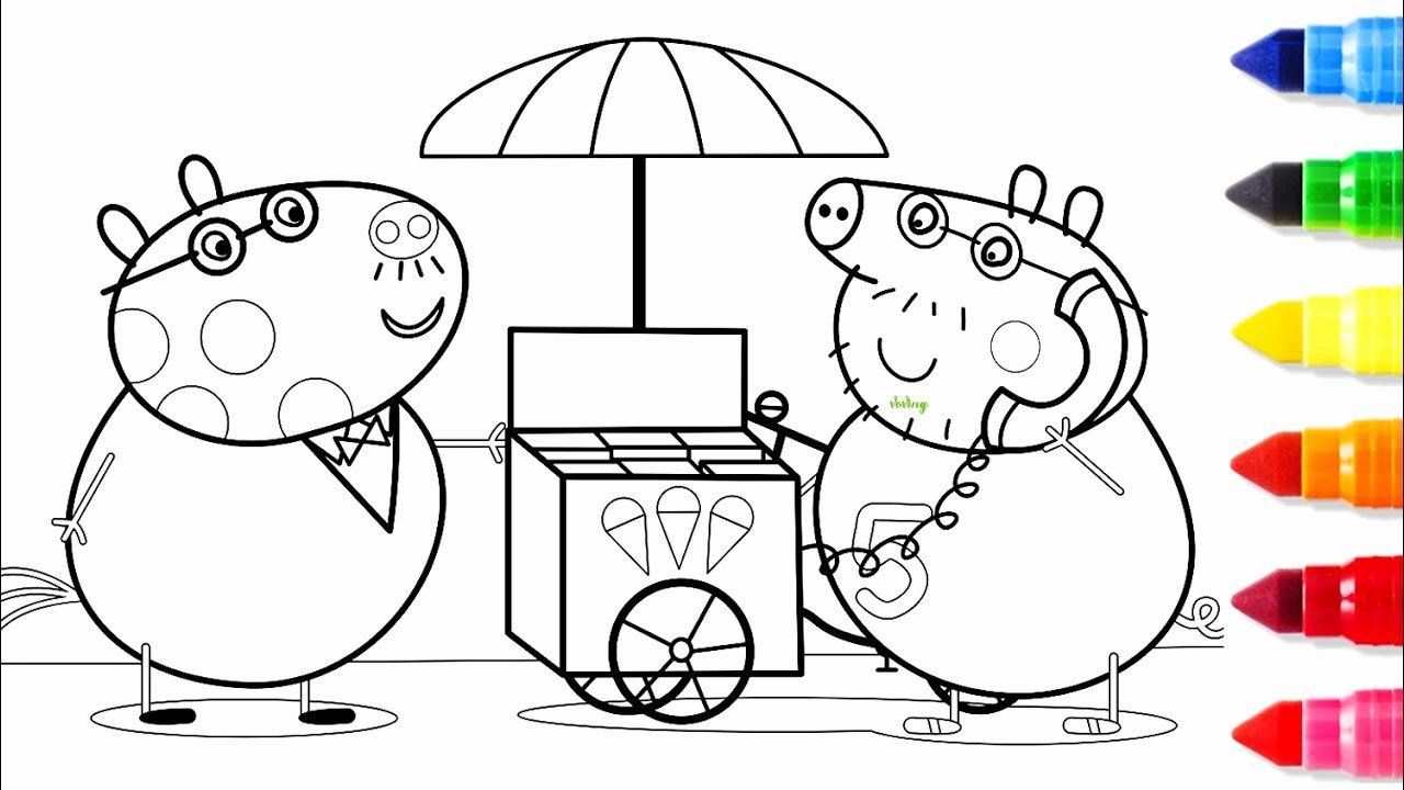 Toddlers Coloring Books Awesome Ice Cream Car Coloring Pages Drawing Pages With Peppa Pig In 2020 Toddler Coloring Book Cartoon Coloring Pages Detailed Coloring Pages