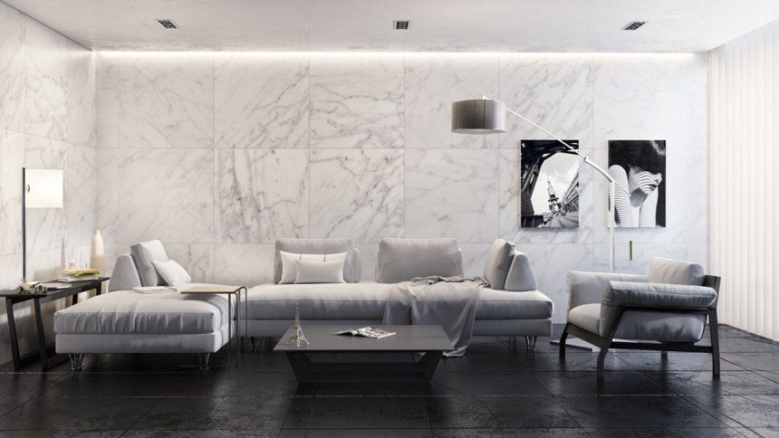 Awesome White Marble Floor Living Room With Tile And Decor Ideas Design Picture Living Room In 2020 Monochrome Living Room Indian Living Rooms White Marble Floor #white #marble #floors #living #room