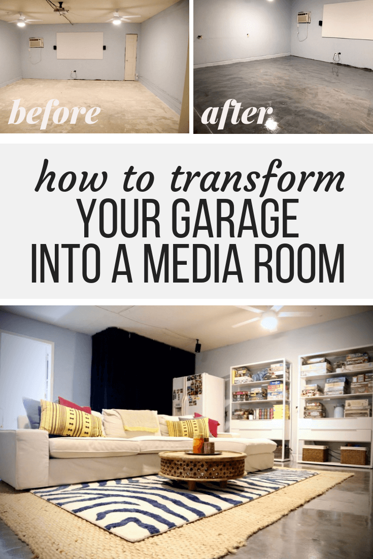 How To Turn A Plain Garage Into A Gorgeous Cozy Media Room Using Rust Oleum S Rock Solid Epoxy Flooring A Garage Game Rooms Media Room Garage To Living Space