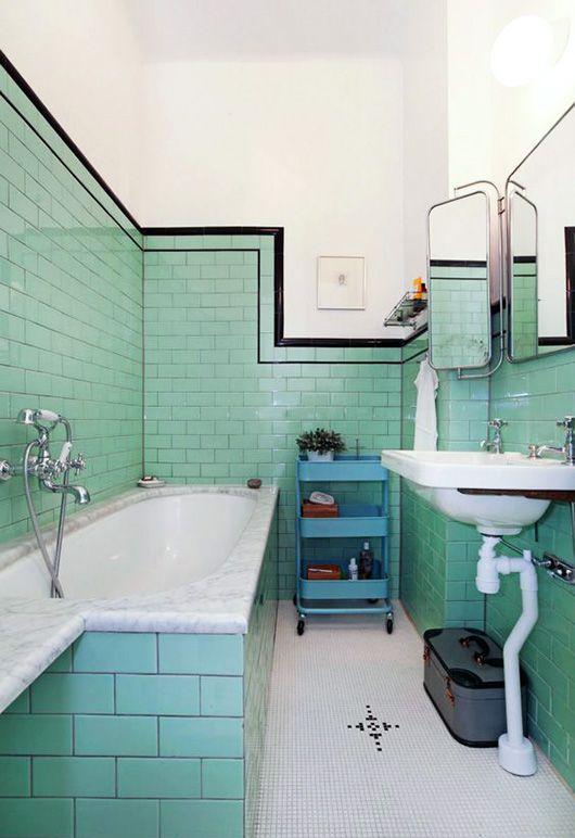 Green With Tile Envy Apartment Interiors Pinterest Bathroom - Art-deco-green-bathroom-tiles
