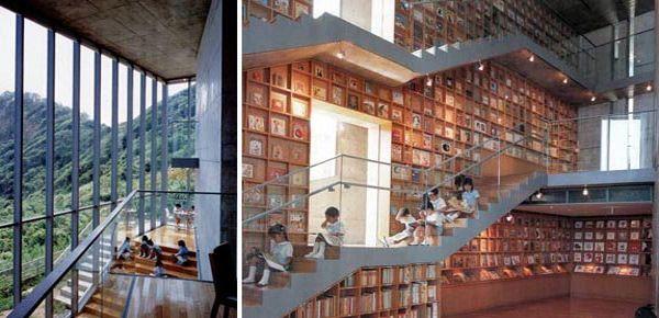 Tadao Ando's library for picture books in Iwaki City, Japan caters to its young audience with books arranged in cubbyholes across the walls