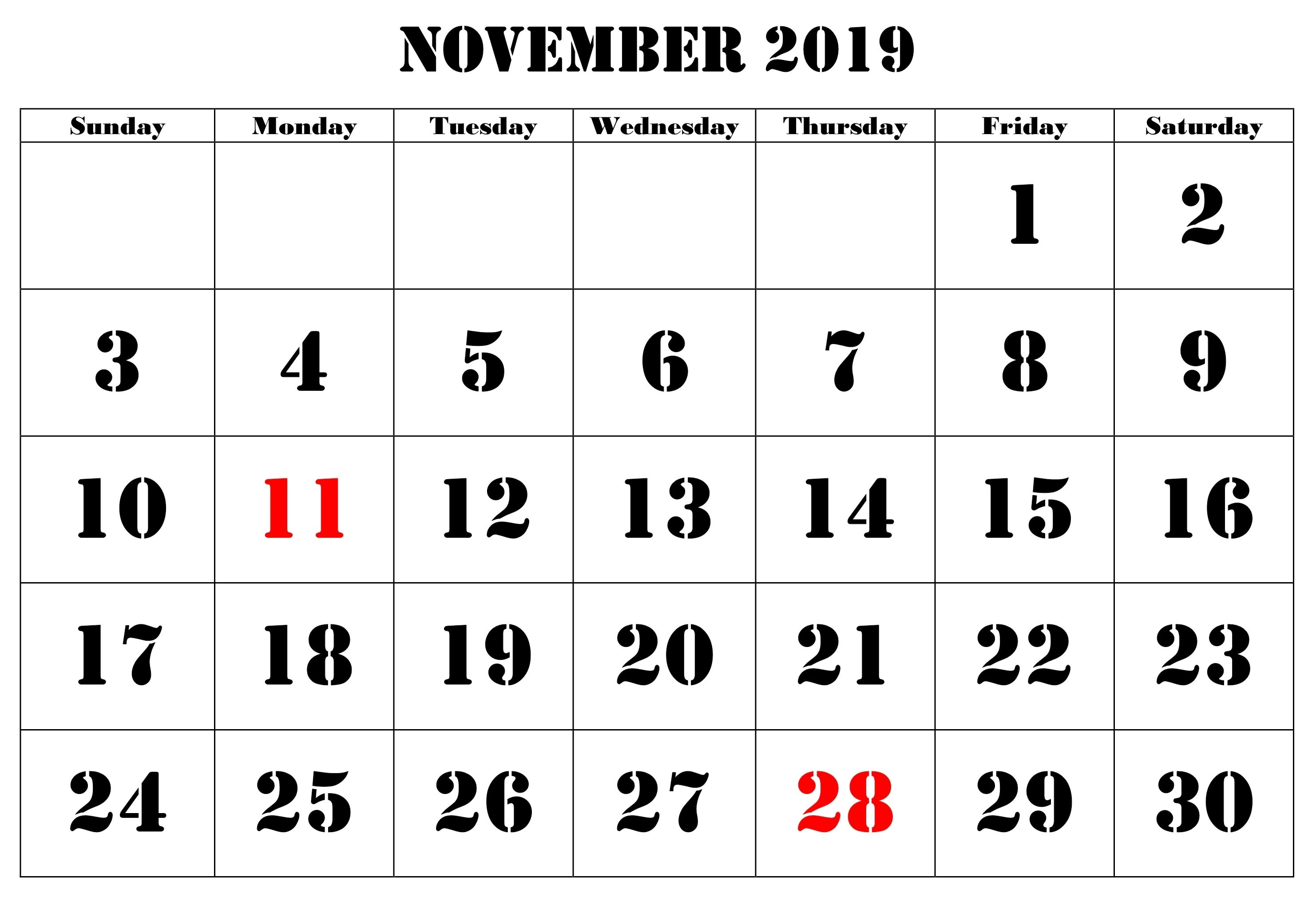 Printable November Holidays 2019 Calendar Calendar Template November Holidays Free Printable Calendar Templates