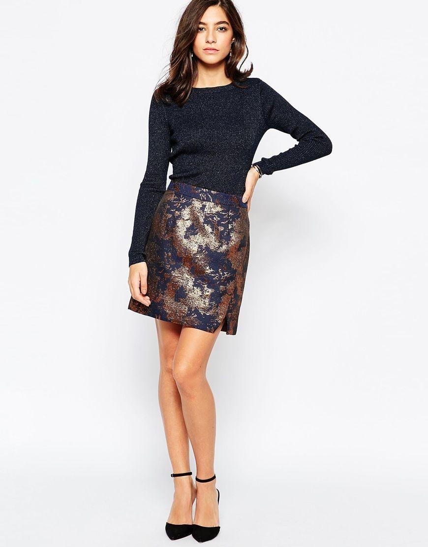 Shop Warehouse Jacquard Mini Skirt at ASOS.