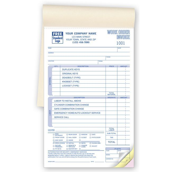 Part Locksmith Work Orders  Booked  Work Order Forms