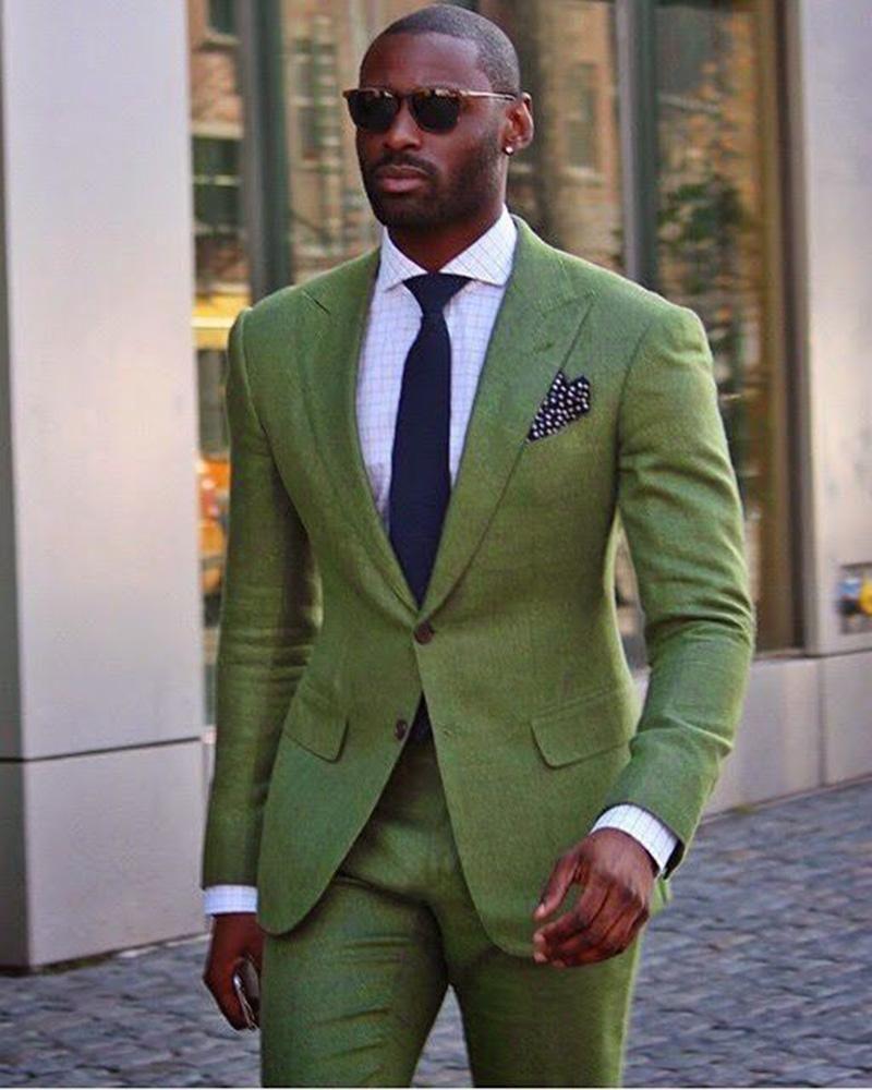 green mens suit groomsmen formal suit two pieces jacket pants