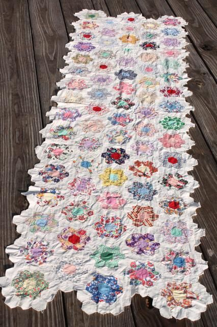 Grandma's flower garden patchwork quilt top table runner, vintage cotton print fabrics