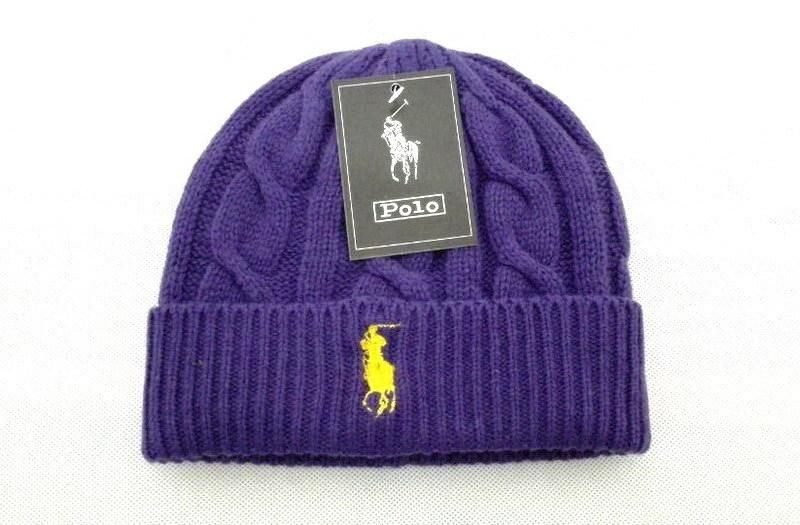 Men's / Women's Polo Ralph Lauren Big Pony Embroidered Cable Knit Ribbed Cuff Winter Beanie Hat - Purple