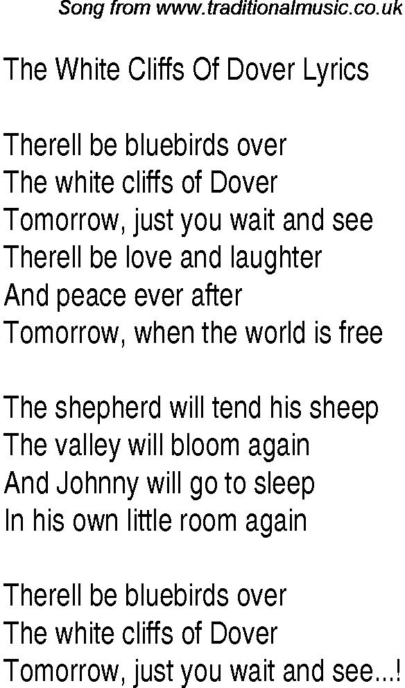 Lyric maggie may lyrics : 1940s top songs - lyrics for The White Cliffs Of Dover(Glen Miller ...