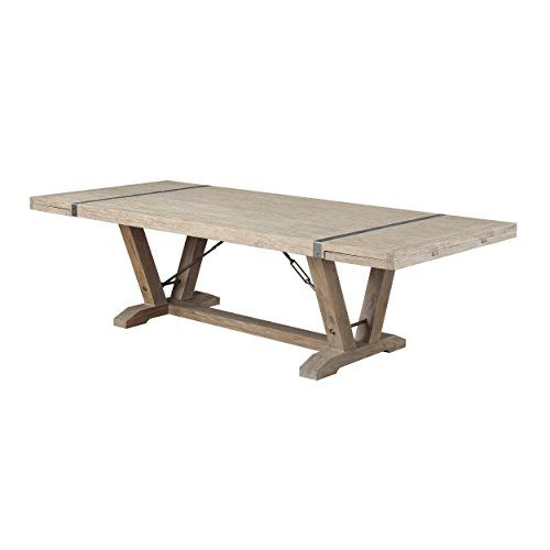 Emerald Home Whitewashed Pine Dining Table With Self Storing Extension Leaves Plank Style