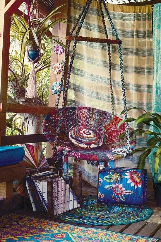 Outdoor wooden swing chair - Bohemian Porch On Pinterest Bohemian Patio Screen Porch Decorating