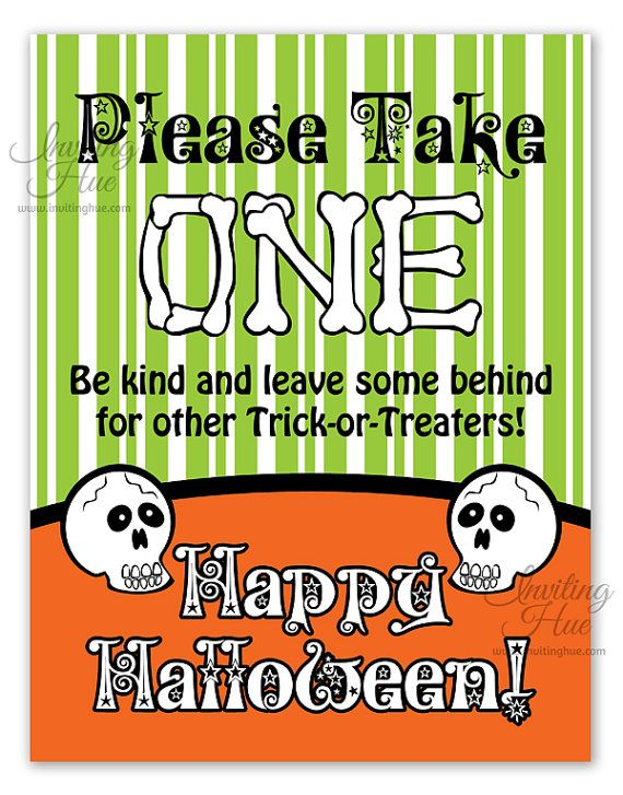 printable sign for halloween candy bowl for trick or treaters
