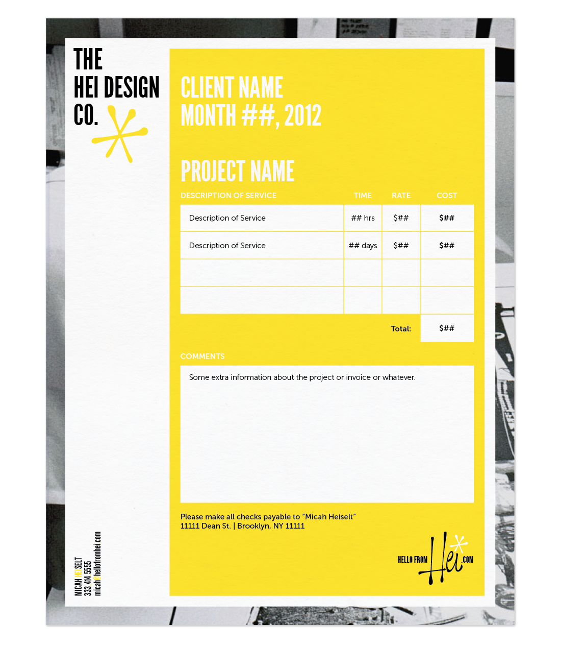 Invoice  The Hei Design Company  Art Of Identity