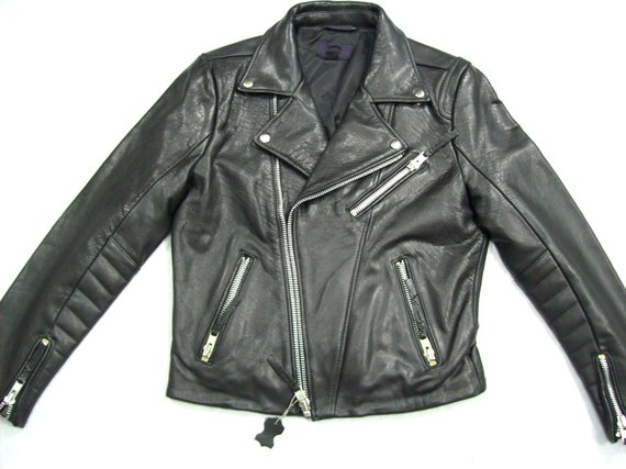 fdf048bdd Black Motorcycle Heavy Leather Jacket EU small size 48 / size S / US ...