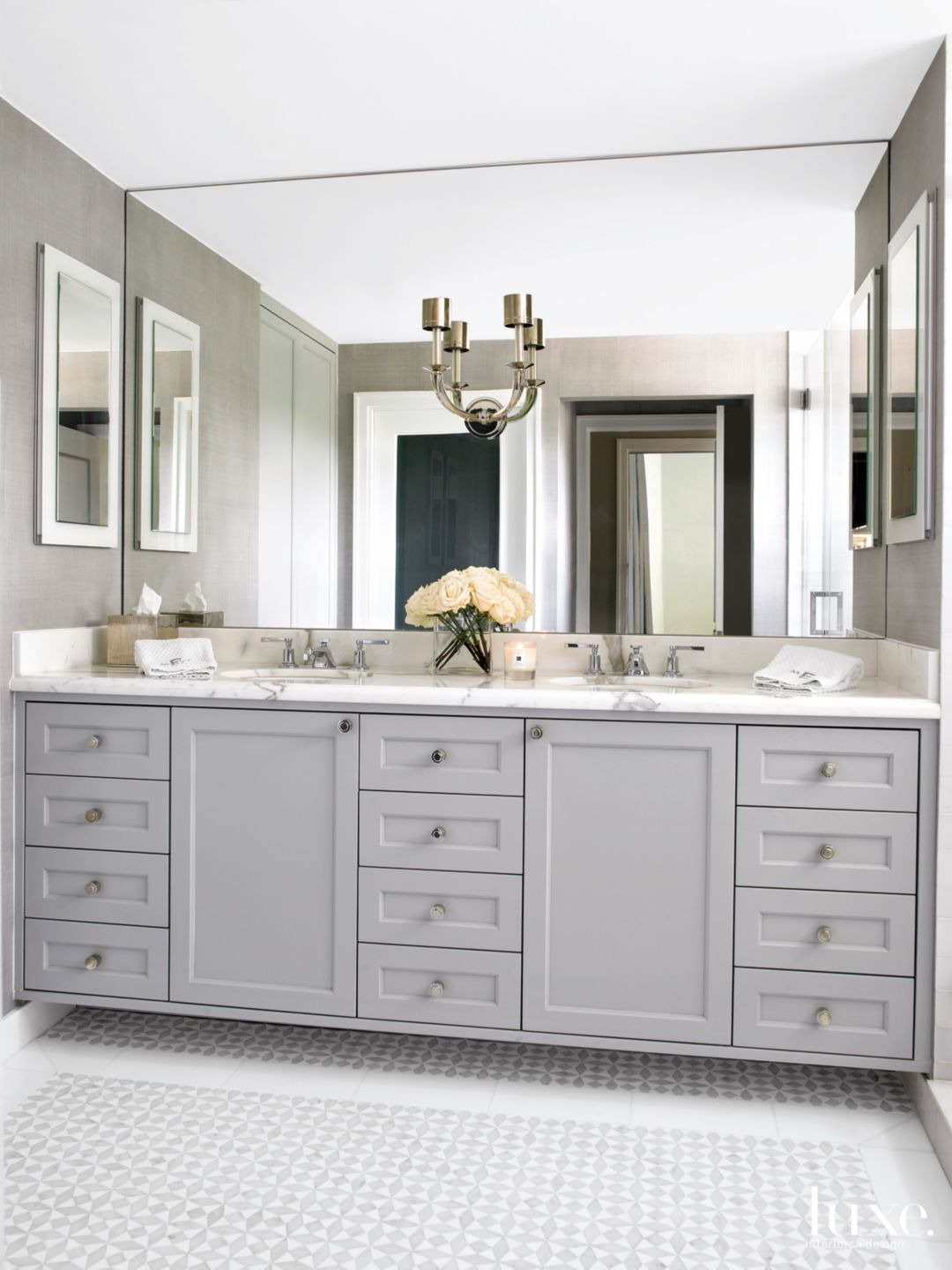 Modern Gray Bathroom With Gray Cabinets Bathroom Mirror Design Bathroom Model Bathroom Design