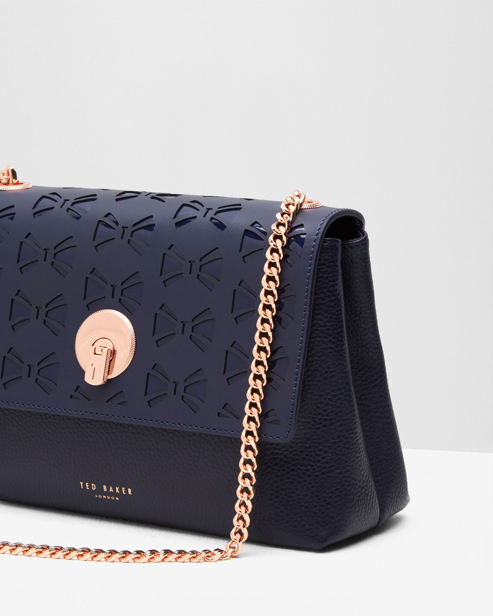 Cut-out circle lock leather cross body bag - Navy  277ed18ba2366