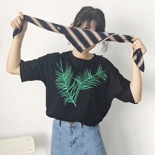 Palm leaf embroidery cotton oversized tshirt is part of Oversized Clothes Grunge - 43,30in Material Cotton