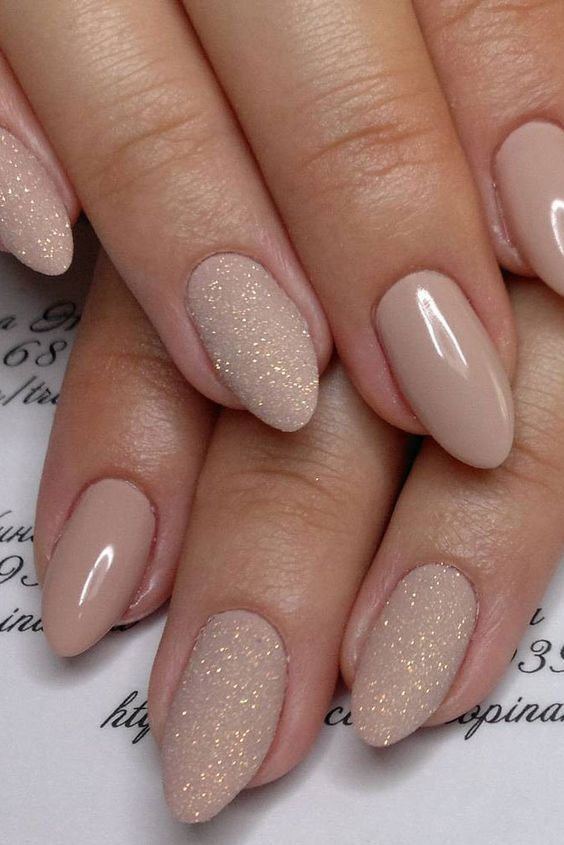 Nude & Glitter Wedding Nails for Brides #weddings #himisspuff #weddingnails - 100 Stunning Wedding Nail Art Desgins Wedding Nails Pinterest
