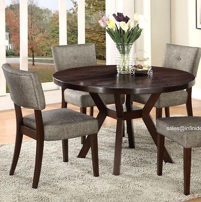 5Pcs Modern Espresso Round Dining Table And Chair Set Am16250 Beauteous Espresso Dining Room Sets Inspiration Design